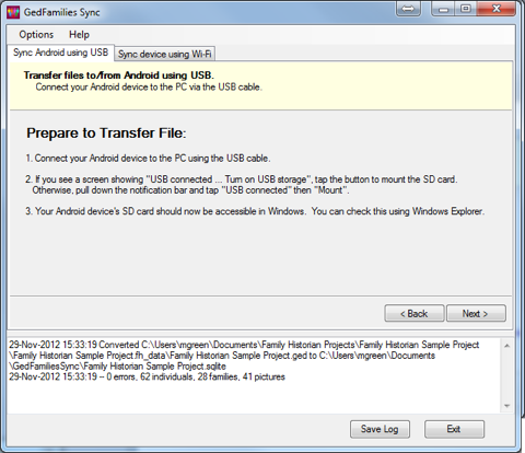 How to transfer your family file from the PC to an Android